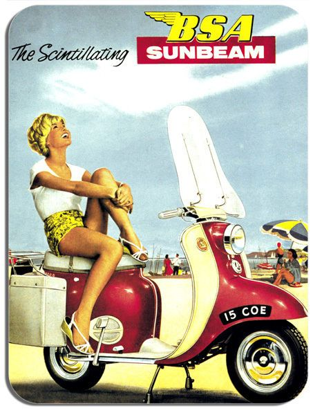 Bsa Sunbeam 1960 Motorcycle Mouse Mat Motorbike Ad