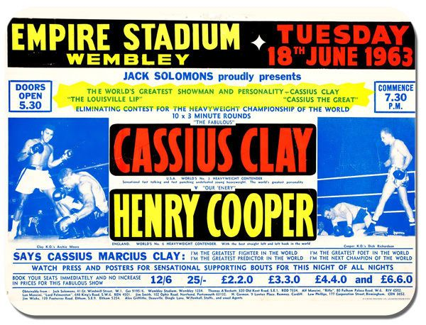 Cassius Clay Henry Cooper Muhammad Ali Mouse Mat. Boxing Fight Poster Mouse Pad