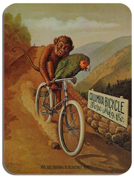 Columbia Bicycle Parrot & Monkey Mouse Mat Vintage Cycling Poster Bike Mouse pad