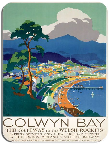 Colwyn Bay Vintage Railway Poster Mouse Mat. LMS Wales Train Travel Mouse pad