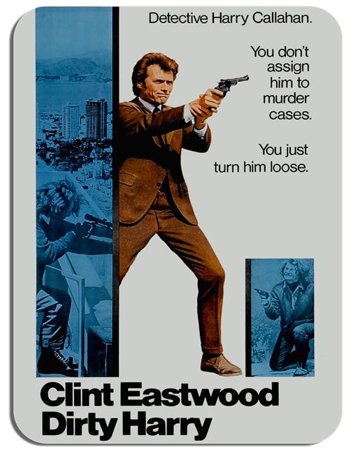 Dirty Harry Clint Eastwood Film Mouse Mat. Vintage Movie Poster Mouse pad