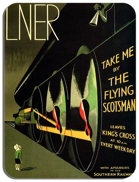 Flying Scotsman LNER Railway Poster Mouse Mat. Train Travel Mouse Pad Gift