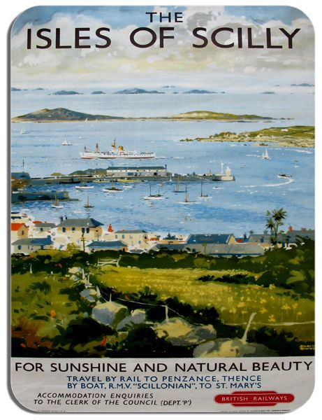 Isles Of Scilly Vintage Poster Mouse Mat. Train Railway Travel Ad Mouse Pad Gift