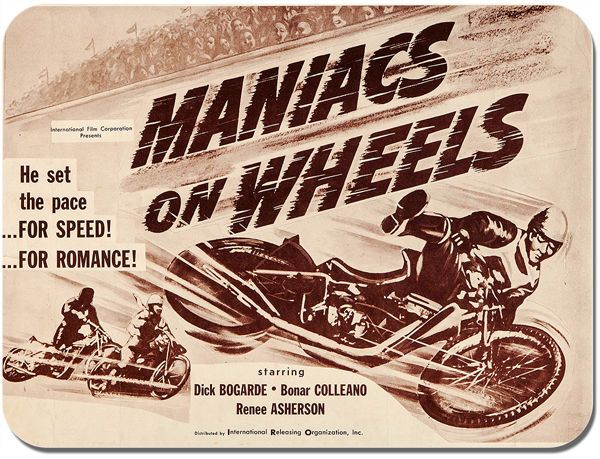 Maniacs On Wheels Mouse Mat. Vintage Speedway Movie Motorcycle Race Mouse pad