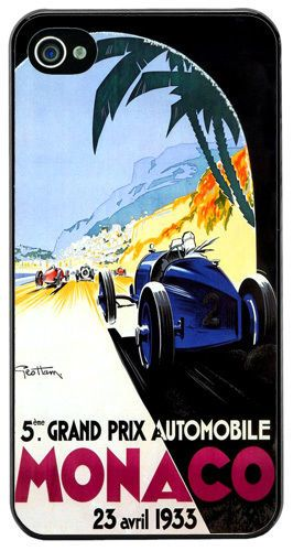 Monaco Grand Prix 1933 Quality Cover/Case For iPhone 4/4S. Vintage Poster Gift