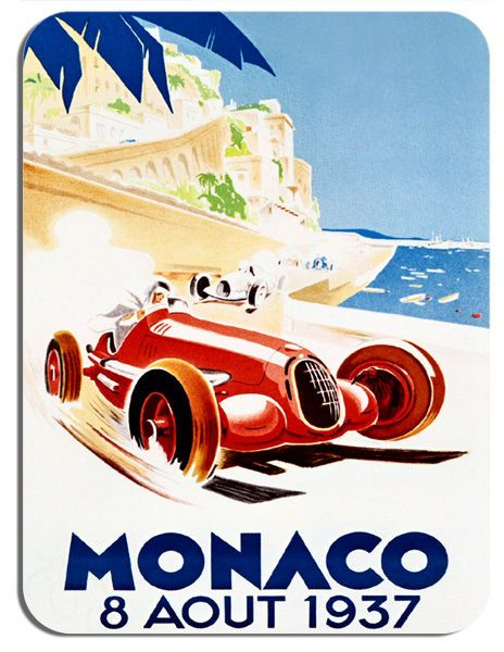 Monaco Grand Prix 1937 Vintage Poster Mouse Mat. Classic Motor Racing Mouse Pad.