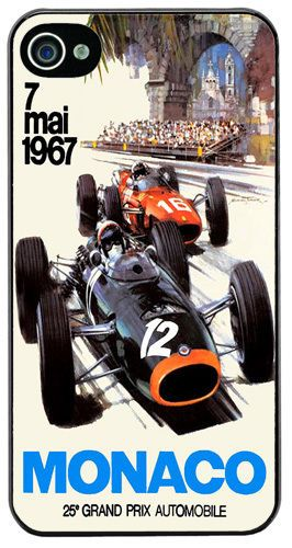 Monaco Grand Prix 1967 Cover/Case For iPhone 4/4S. Vintage Poster Car Race Gift