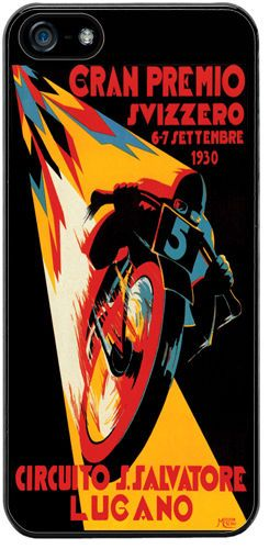 Moto GP Vintage Poster Cover Case For iPhone 5/5S. Swiss Grand Prix Motorcycle