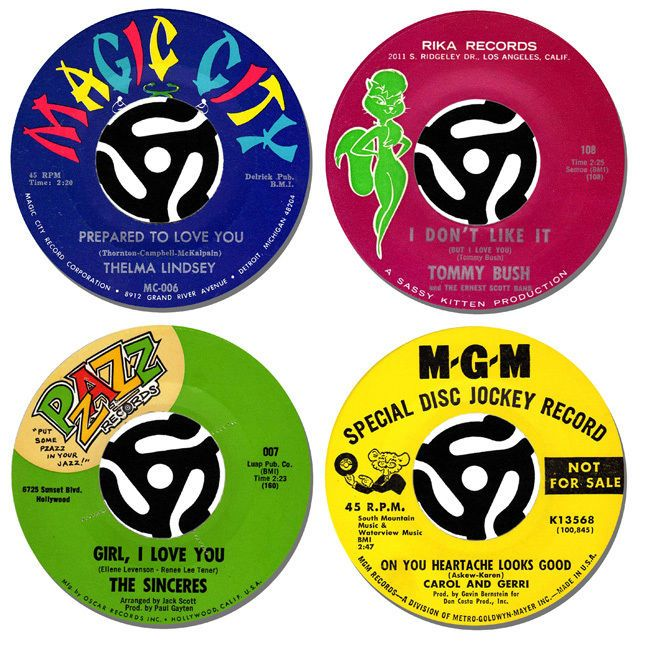 Northern Soul Record Label Coasters Set Of 4. Collectors Rarities Mods Drinks