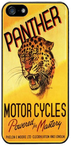 Panther Motorcycles Rubber Cover/Case For iPhone 5/5S. Vintage Motorbike Biker