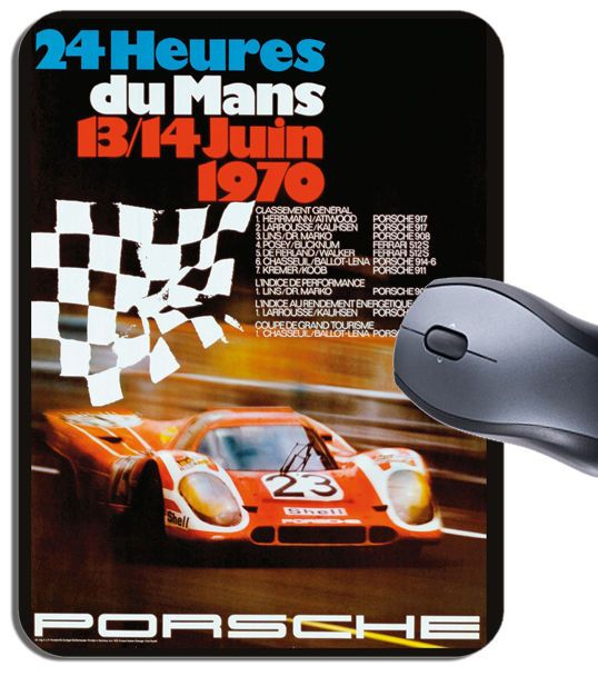 Vintage 24 Hours Le Mans 1970 Poster Mouse Mat. Motor Racing Quality Mouse pad.