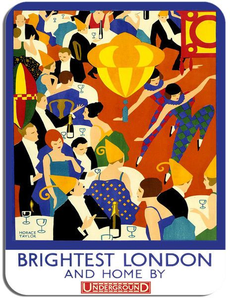Vintage Brightest London and Home By Underground Poster Mouse Mat. Mouse Pad