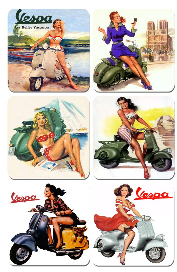 Vintage Classic Scooter Advertising Poster Coasters Set of 6