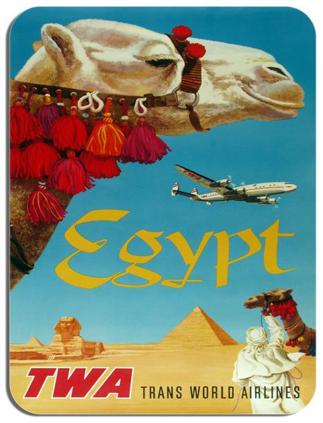 Vintage Egypt Travel Poster Mouse Mat David Klein Airline Mouse Pad. Holiday