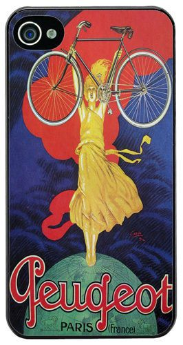 Vintage French Bicycle Ad Poster High Quality Cover/Case For iPhone 4/4S. Gift