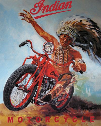 Vintage Indian Motorcycle Poster T Shirt Classic Indian