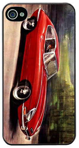 Vintage Jaguar E Type 4.2 Litre Car Ad Cover/Case For iPhone 4/4S. Classic Gift