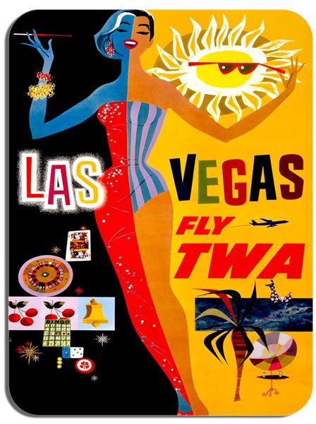 Vintage Las Vegas Travel Poster Mouse Mat High Quality Airline Advert Mouse Pad