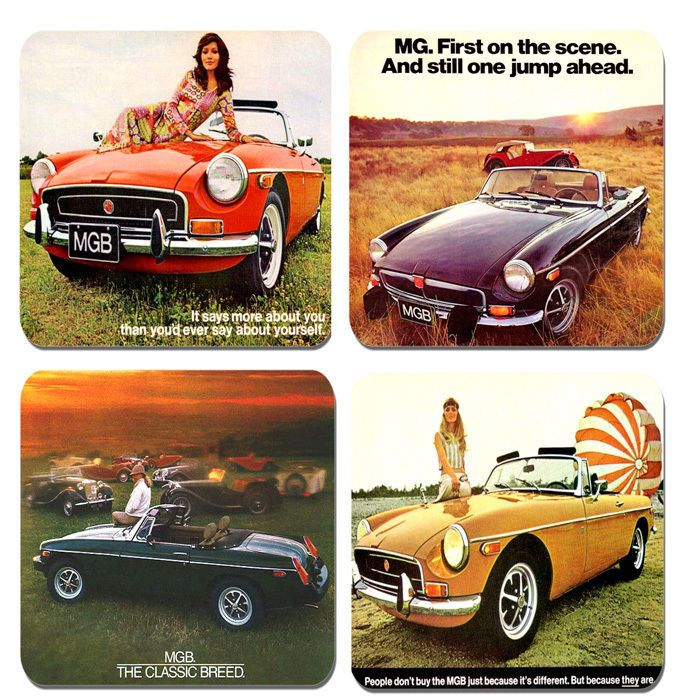 Vintage MGB Car Advertisement III Brochure Drinks Coasters Set Of 4 Quality Cork