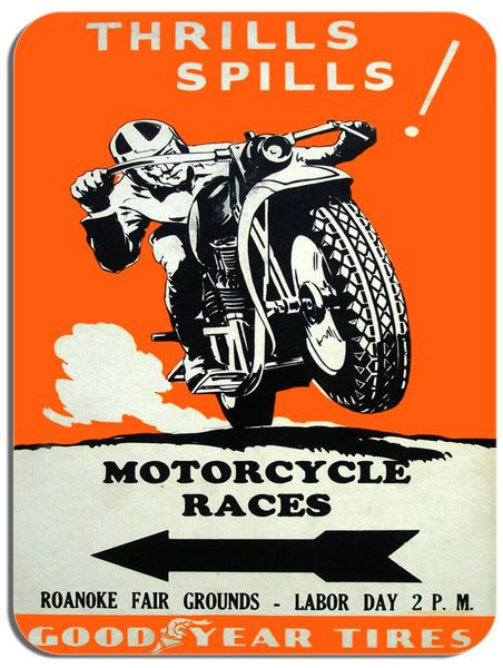 Vintage Motorcycle Races Poster Mouse Mat Thrills And Spills Motorbike Mouse pad