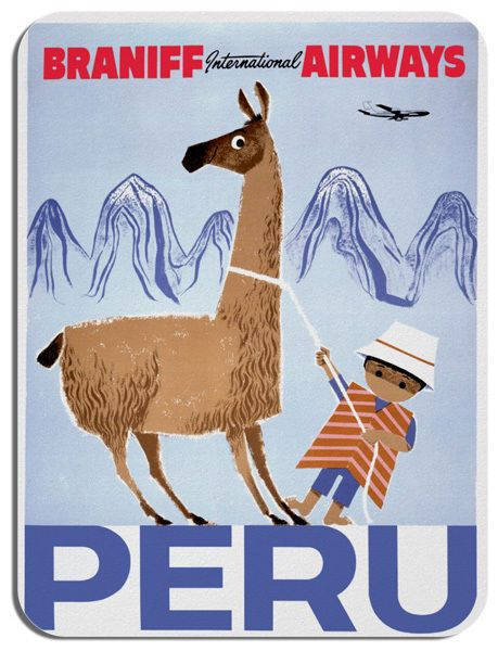 Vintage Peru Braniff Airways Travel Poster Mouse Mat. Tourism Mouse Pad Gift