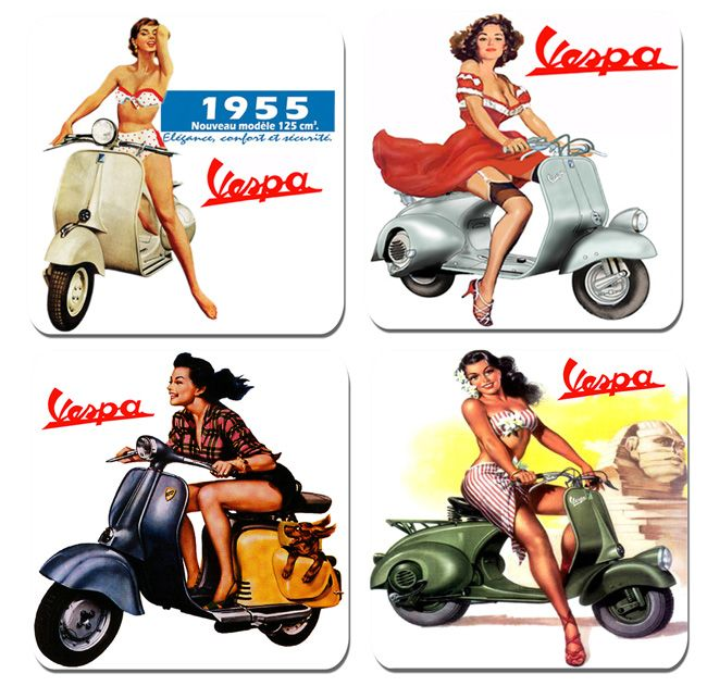 Vintage Scooter Advert Drinks Coasters Set Of 4 High Quality Cork