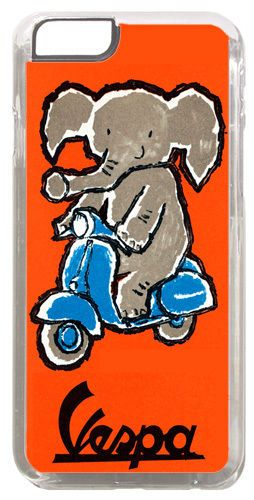 Vintage Scooter & Elephant Poster Cover/Case Fits iPhone 6 PLUS + /6 PLUS S. Mod