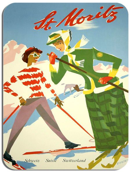 Vintage St Moritz Travel Poster Mouse Mat. Quality Switzerland Advert Mouse Pad