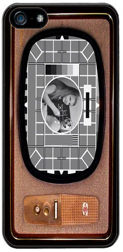 Vintage Television Cover/Case Fits iPhone 5/5S. Test Card In Black & White TV