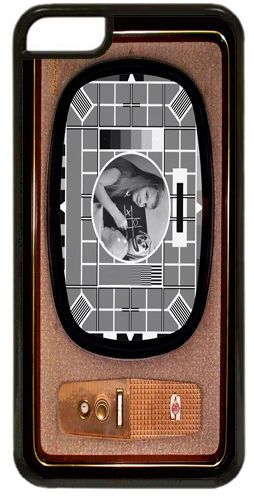 Vintage Television Cover/Case Fits iPhone 7/7S. Test Card In Black & White TV