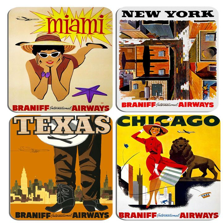 Vintage USA Braniff Airways Travel Poster Drinks Coasters Set Of 4. Quality Cork