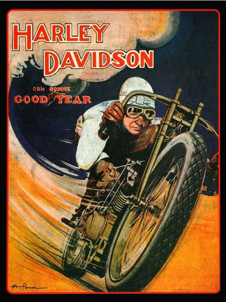 Vintage 1920s Harley Davidson Good Year Motorcycle Race Poster T-Shirt. 12 Sizes. Classic Motorbike