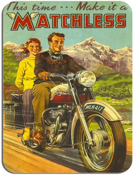 """This time make it a matchless"" Vintage Advertising Poster Mouse Mat. Motorbike Mouse Pad"