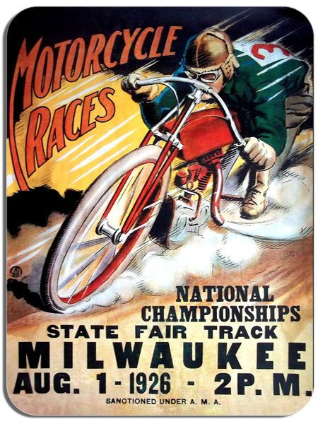 1926 MILWAUKEE FAIR Motorcycle Race Vintage Poster Mouse Mat Motorbike Mouse pad