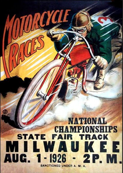 1926 MILWAUKEE FAIR Motorcycle Race Vintage Poster T-Shirt. 12 Sizes. Motorbike