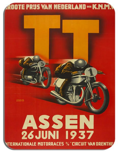 1937 Assen Dutch TT Motorbike Poster Mouse Mat. Motorcycle Race Mouse pad Bike