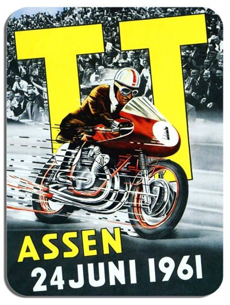 1961 Assen Dutch TT Motorbike Poster Mouse Mat. Motorcycle Race Mouse pad Bike