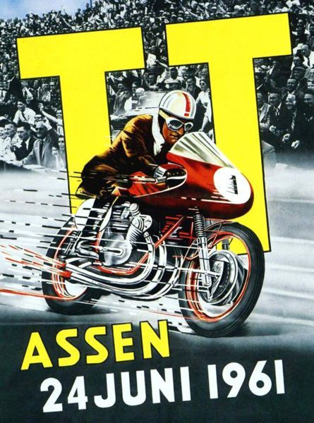 1961 Assen Dutch TT Motorcycle Poster T-Shirt. 12 Sizes. Motorbike Classic Bike