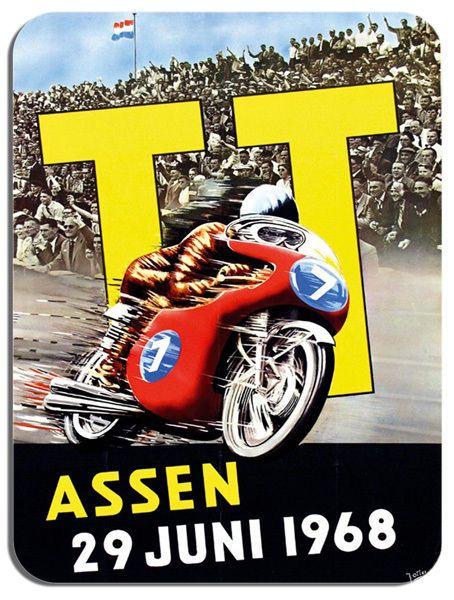 1968 Assen Dutch TT Motorbike Poster Mouse Mat. Motorcycle Race Mouse pad Bike