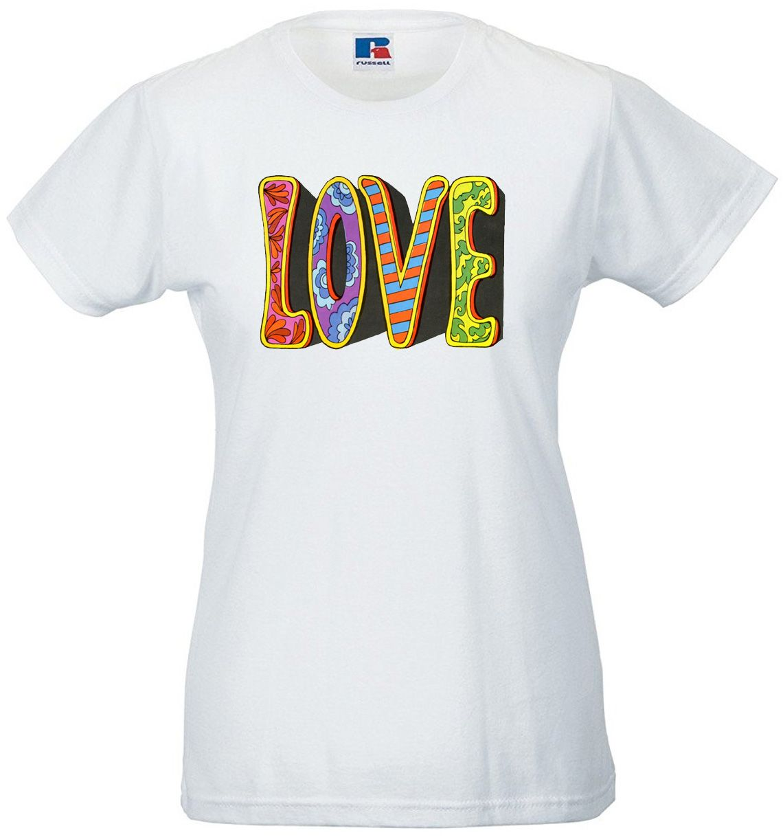 Sizes 60/'s Style Psychedelic Hippy Love Ladies Womens T-Shirt Ring Spun Cotton