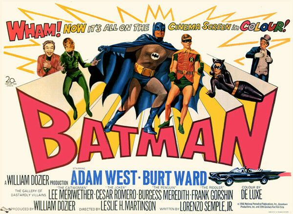 Adam West  Batman T-Shirt Gents Ladies Kids Sizes. 1966 Vintage Movie Film Poster Tee