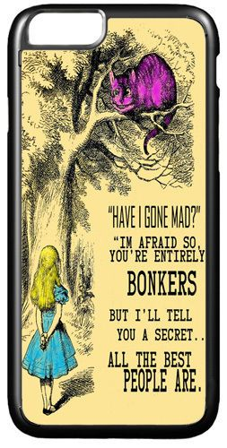 Alice In Wonderland You're Bonkers Page Cover/Case Fits iPhone 7/7S 6/6S 6+/6+S
