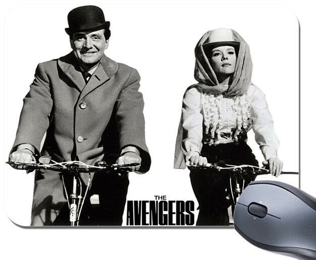 Avengers TV Show Cycling Mouse Mat. Steed & Emma Peel Bike Bicycle Mouse Pad