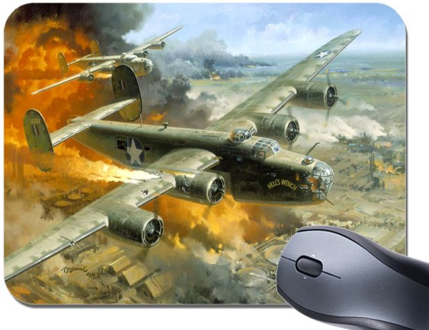 B-24 Liberator Bomber Painting Mouse Mat. WW2 US Aircraft High Quality Mouse Pad