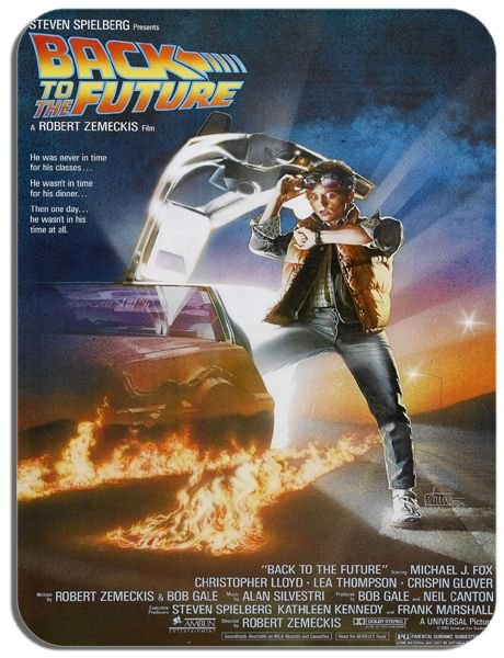 Back To The Future Movie Poster Mouse Mat. High Quality Vintage 80's Sci-Fi Film Mouse Pad