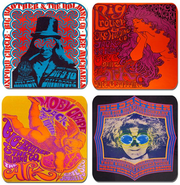Big Brother and the Holding Company Psychedelic Poster Drinks Coasters Set Of 4. High Quality Cork