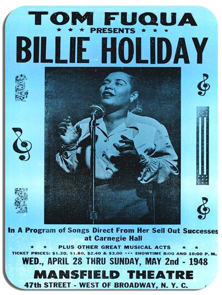 Billie Holiday Vintage Live In Concert Poster Mouse Mat. NYC Music Mouse pad