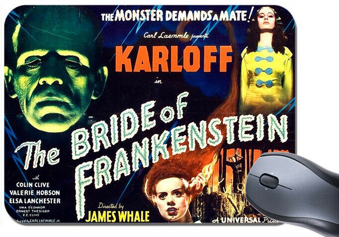 Bride Of Frankenstein Film Poster Mouse Mat Boris Karloff Movie Mouse Pad Gift