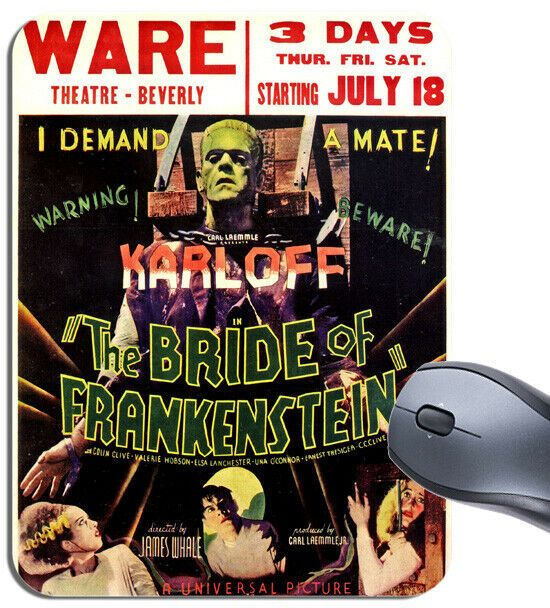 Bride Of Frankenstein Movie Poster Mouse Mat Boris Karloff Film Advert Mouse Pad