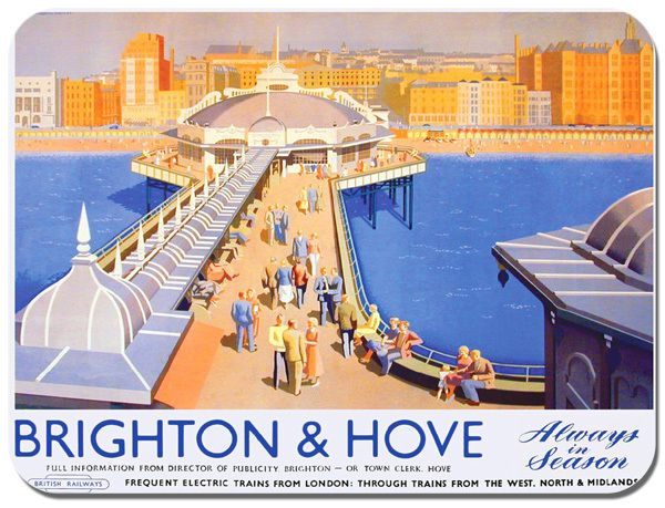 Brighton & Hove Vintage Railway Poster Mouse Mat. Train Travel Mouse Pad Gift